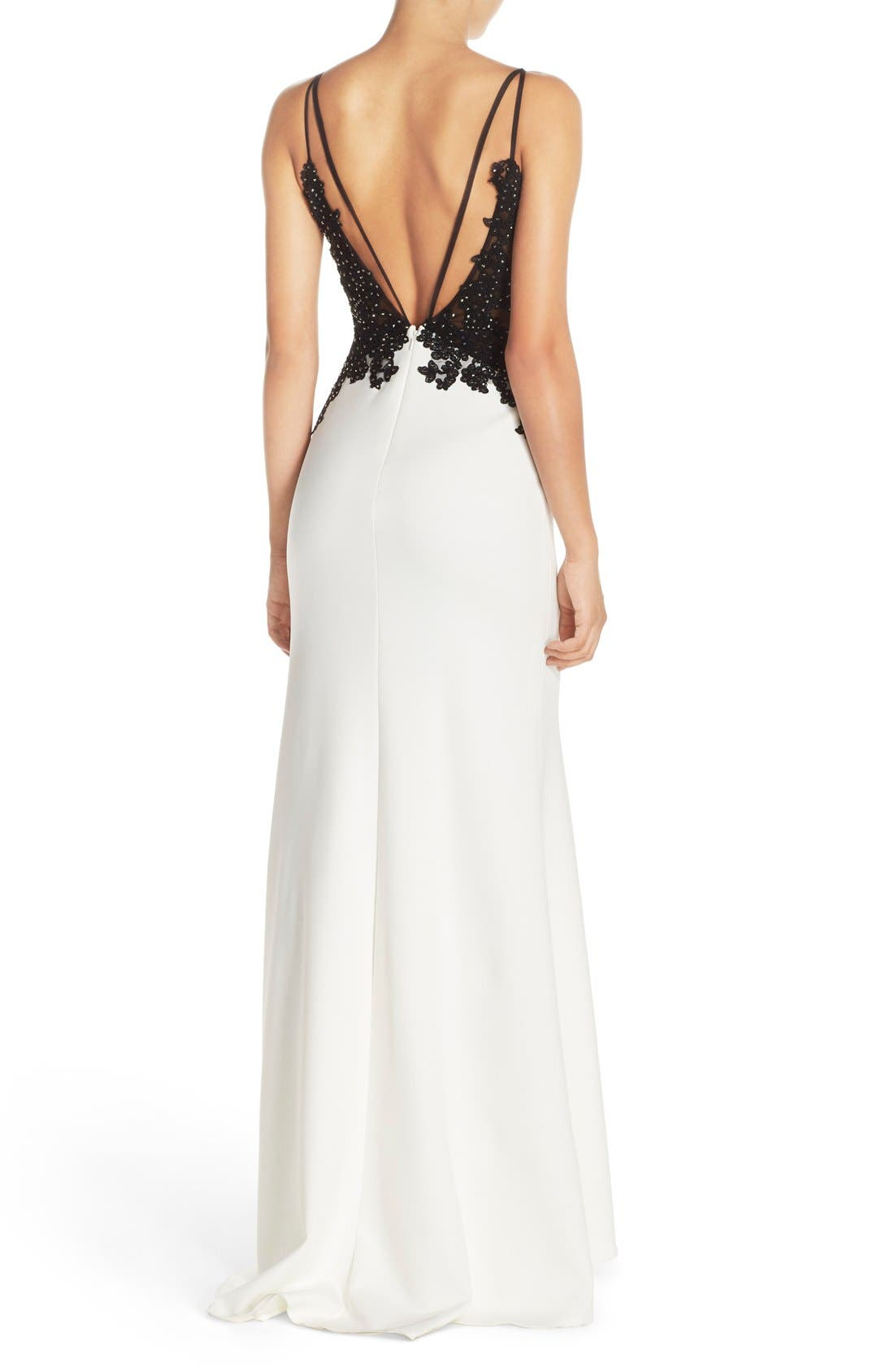 Alternate Image 2  - Faviana Spaghetti Strap Gown with Beaded Floral Lace