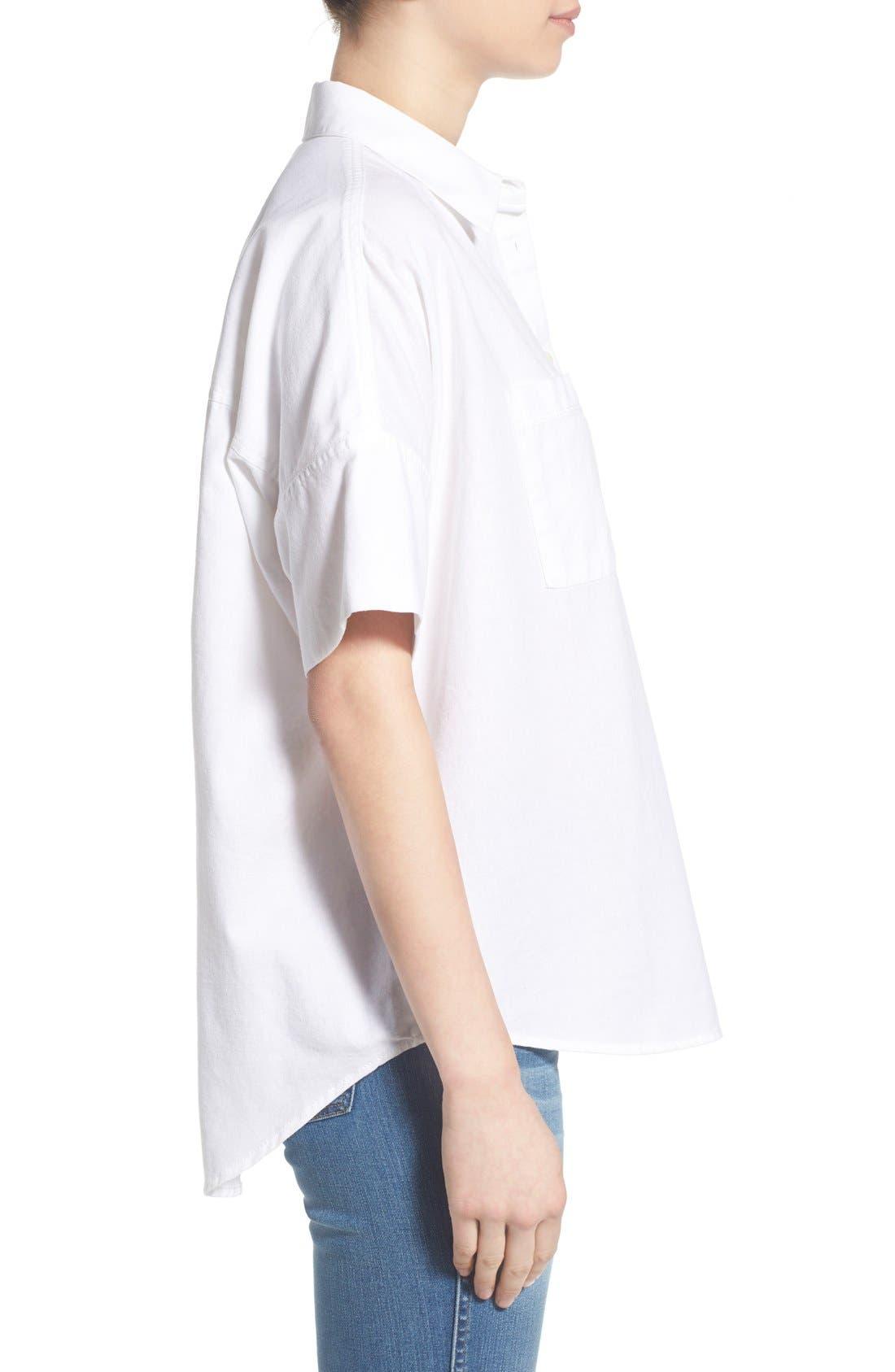 Cotton Courier Shirt,                             Alternate thumbnail 3, color,                             Pure White