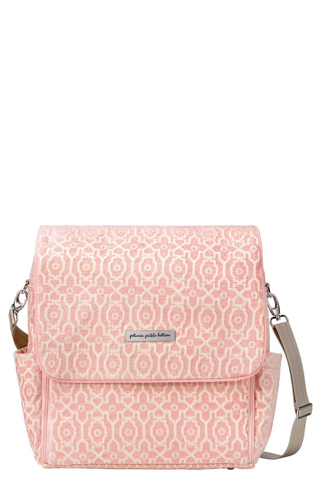 'Boxy' Chenille Convertible Diaper Backpack,                             Main thumbnail 1, color,                             Sweet Rose