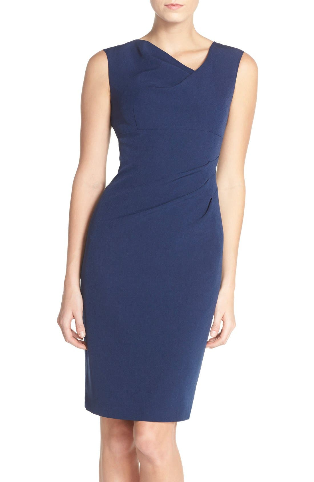 Drape Neck Crepe Sheath Dress,                         Main,                         color, Dusk