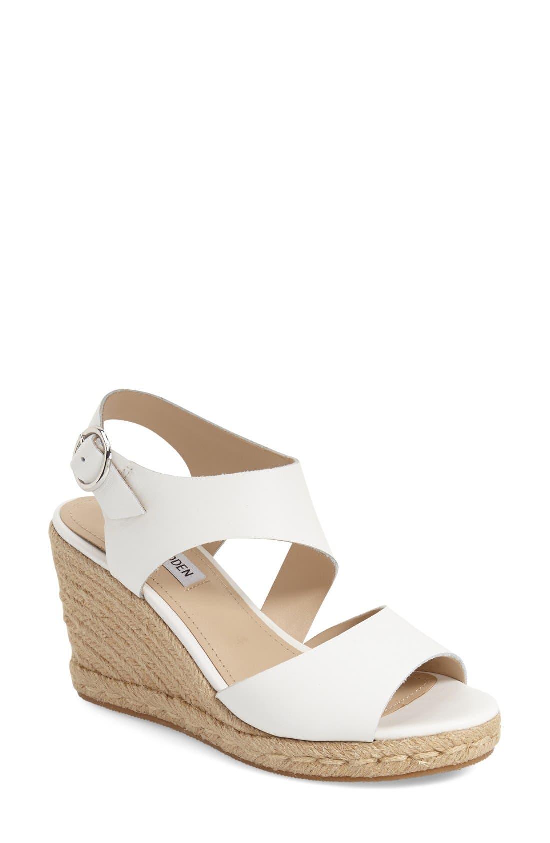 'Wavi' Espadrille Wedge Sandal,                             Main thumbnail 1, color,                             White Leather