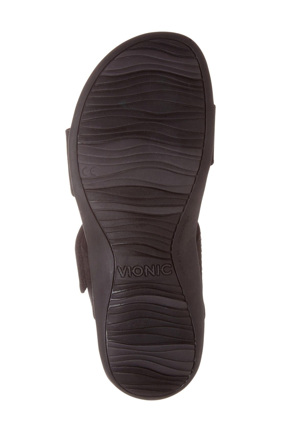 'Samoa' Sandal,                             Alternate thumbnail 4, color,                             Black Leather