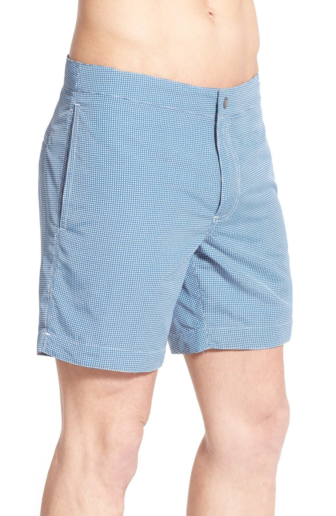 Aruba Tailored Fit Microcheck Swim Trunks,                             Alternate thumbnail 3, color,                             Micro Square Ash Blue