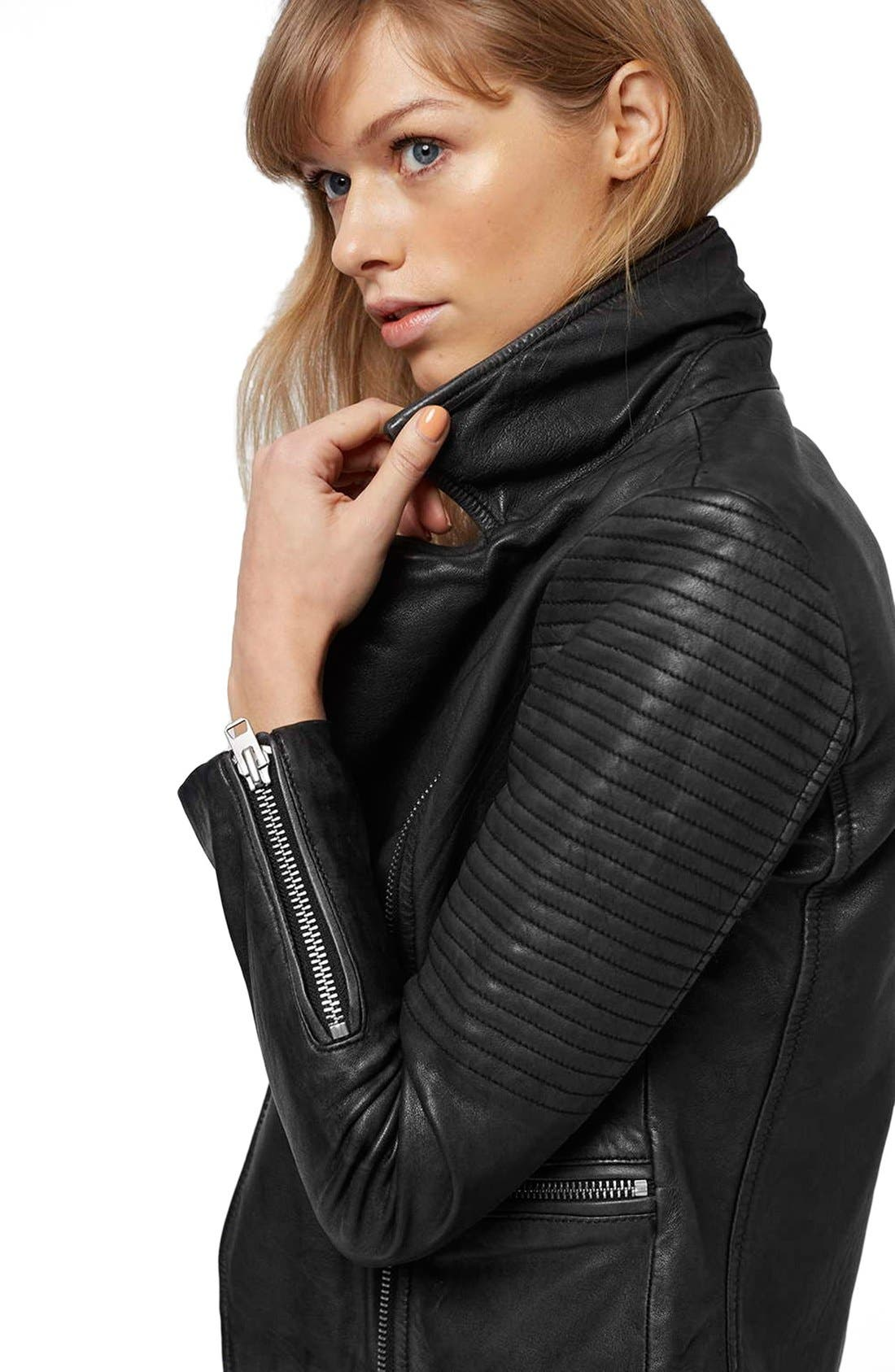 Alternate Image 6  - Topshop 'Orbit' Leather Moto Jacket