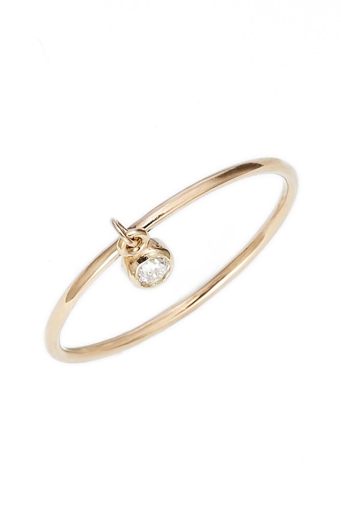 Dangling Diamond Ring,                         Main,                         color, Yellow Gold