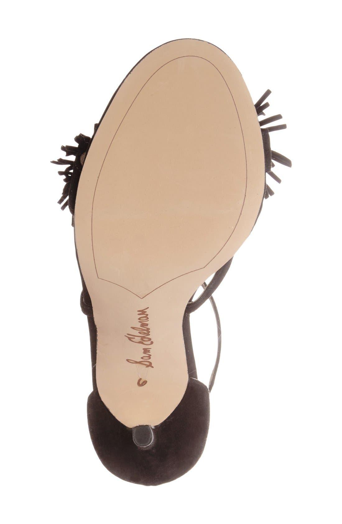 'Aisha' Fringe Sandal,                             Alternate thumbnail 4, color,                             Black Leather