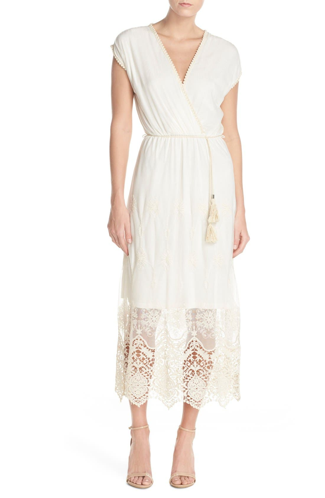 Main Image - Fraiche by J Embroidered Mesh & Cotton Midi Dress