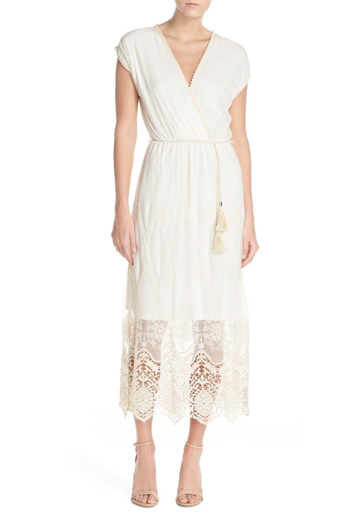 Embroidered Mesh & Cotton Midi Dress,                         Main,                         color, Marie