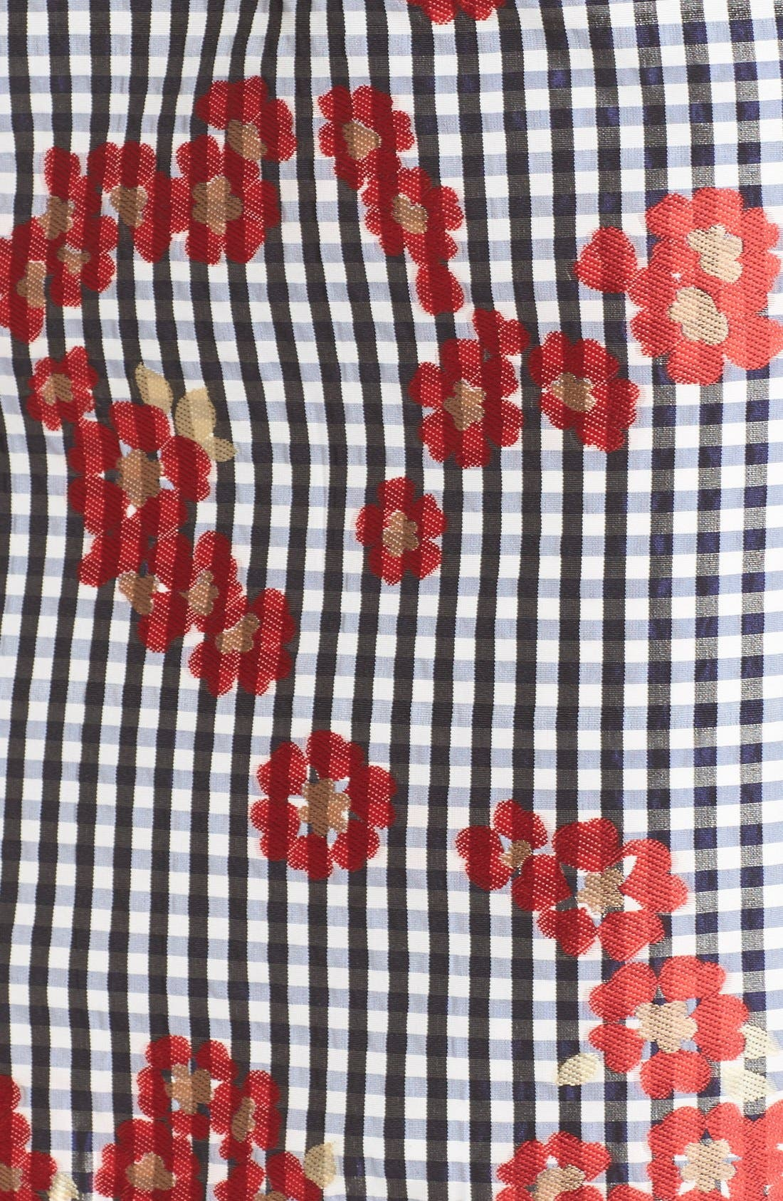 Alternate Image 5  - Adrianna Papell Floral & Gingham Jacquard Sheath Dress (Regular & Petite)