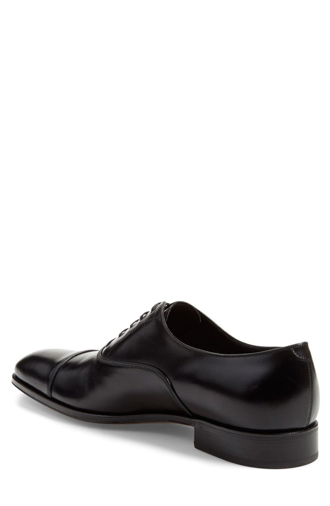 Luce Cap Toe Oxford,                             Alternate thumbnail 2, color,                             Nero  Leather