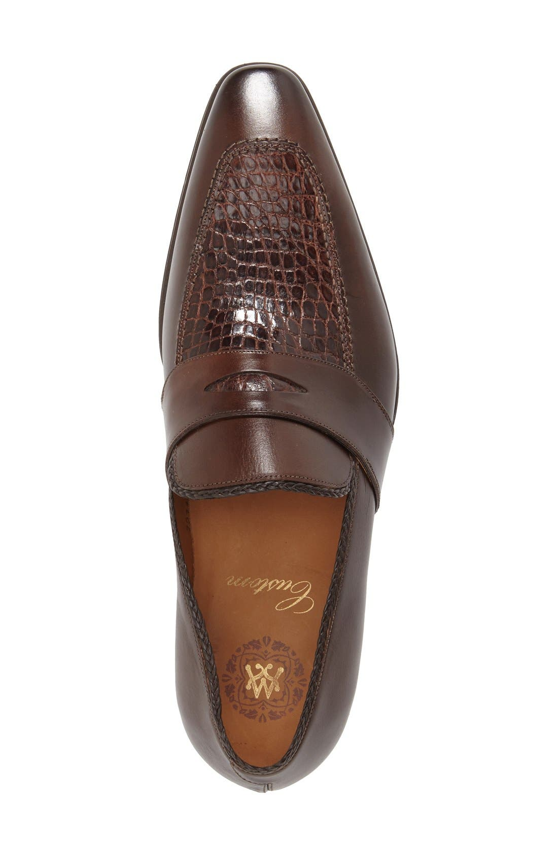 'Lambert' Penny Loafer,                             Alternate thumbnail 3, color,                             Brown Crocodile Leather