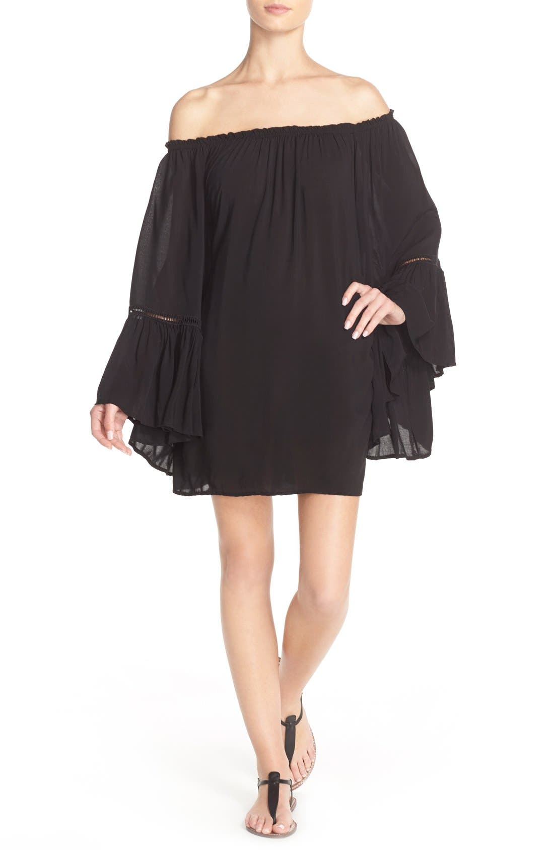 Off the Shoulder Bell Sleeve Cover-Up Tunic,                         Main,                         color, Black