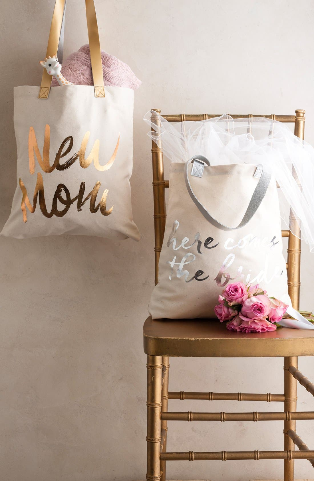 'New Mom' Canvas Tote,                             Alternate thumbnail 2, color,                             White/ Gold