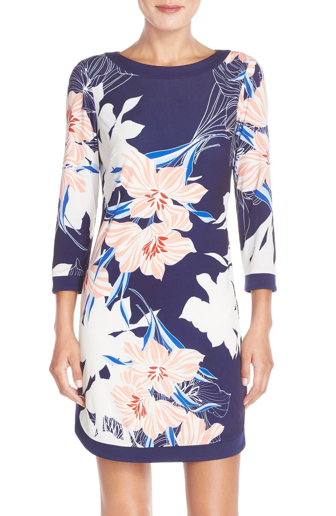 Floral Jersey Shift Dress,                         Main,                         color, Navy