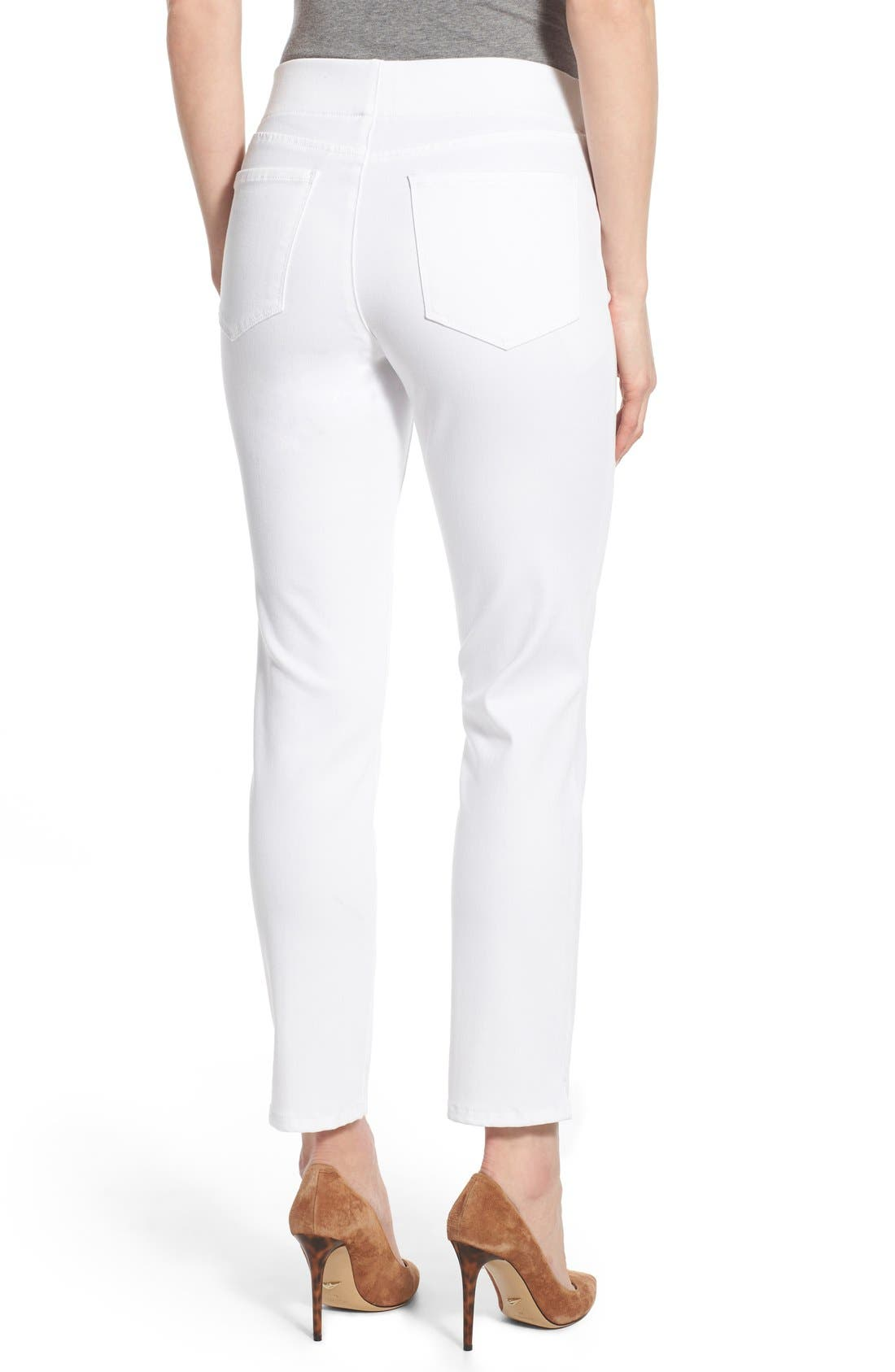 'Millie' Pull-On Stretch Ankle Skinny Jeans,                             Alternate thumbnail 2, color,                             Endless White
