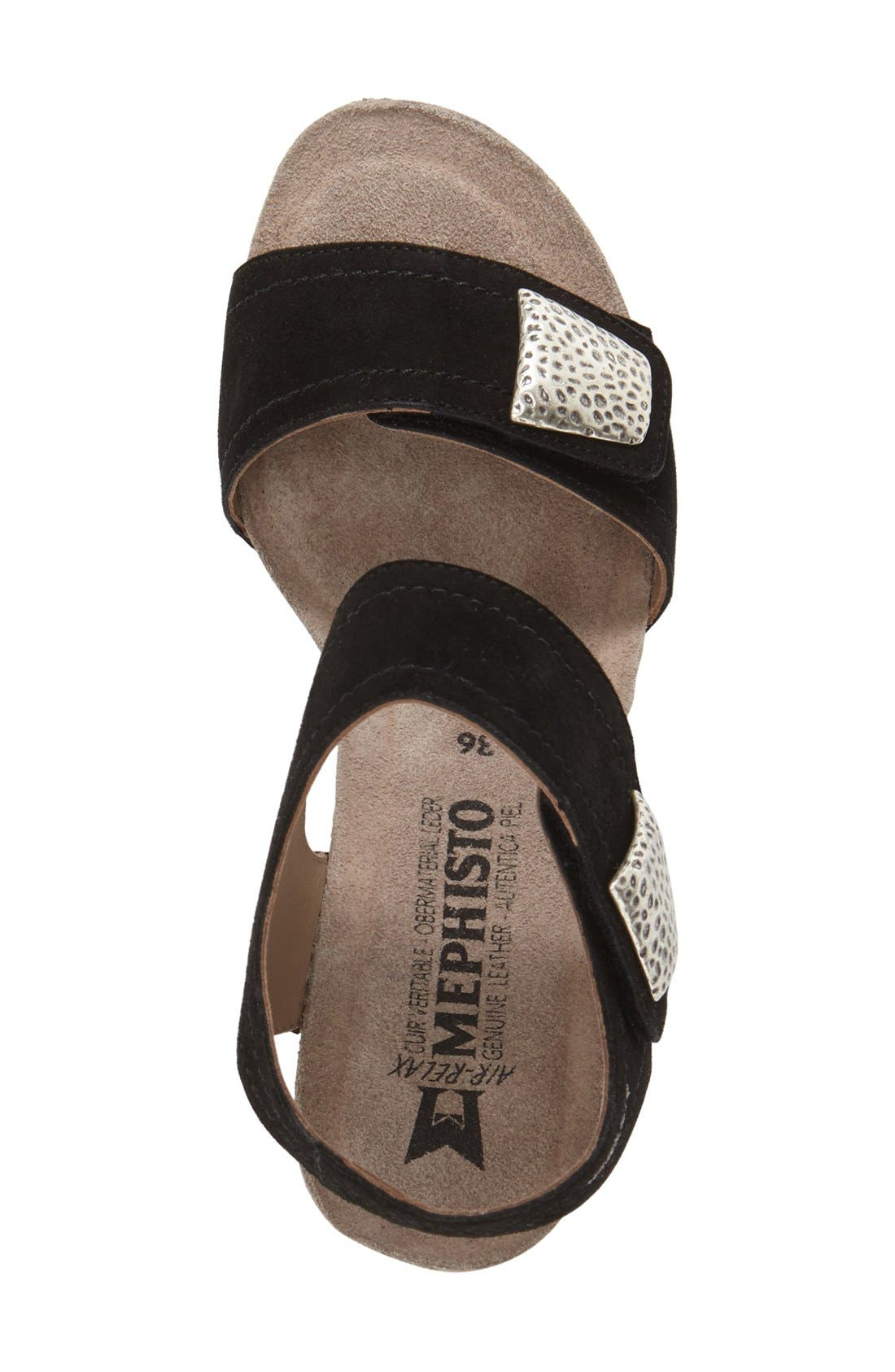 'Jackie' Wedge Sandal,                             Alternate thumbnail 3, color,                             Black Premium Suede