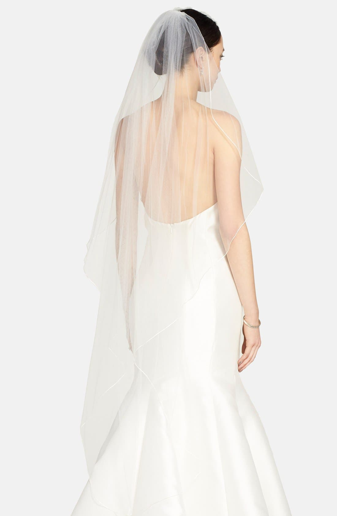 'Avalon' Cascading Waltz Length Veil,                             Main thumbnail 1, color,                             Light Ivory