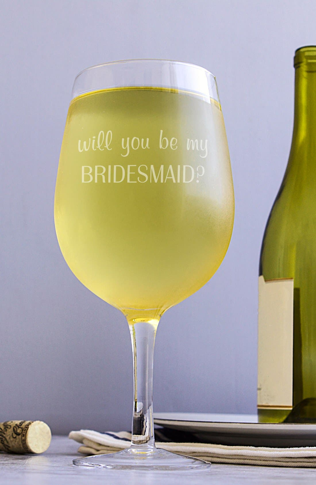 Extra Large Novelty Wine Glass,                         Main,                         color, Bridesmaid