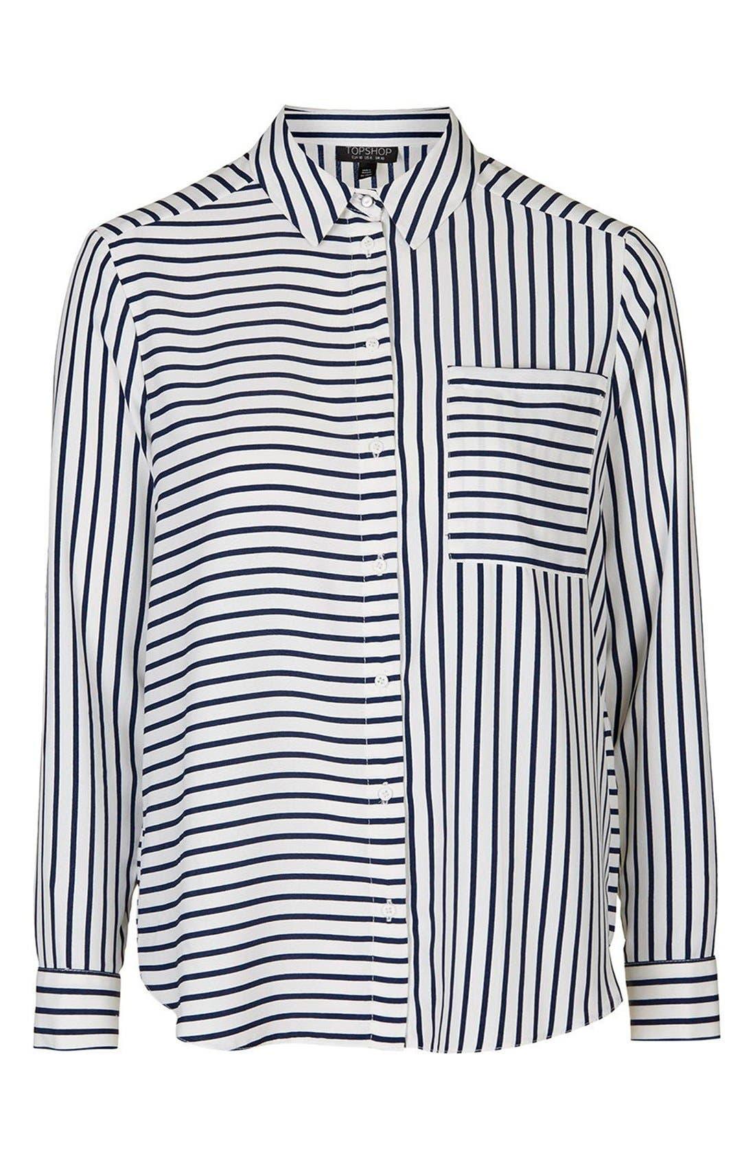Alternate Image 4  - Topshop 'Olivia' Paneled Stripe Shirt