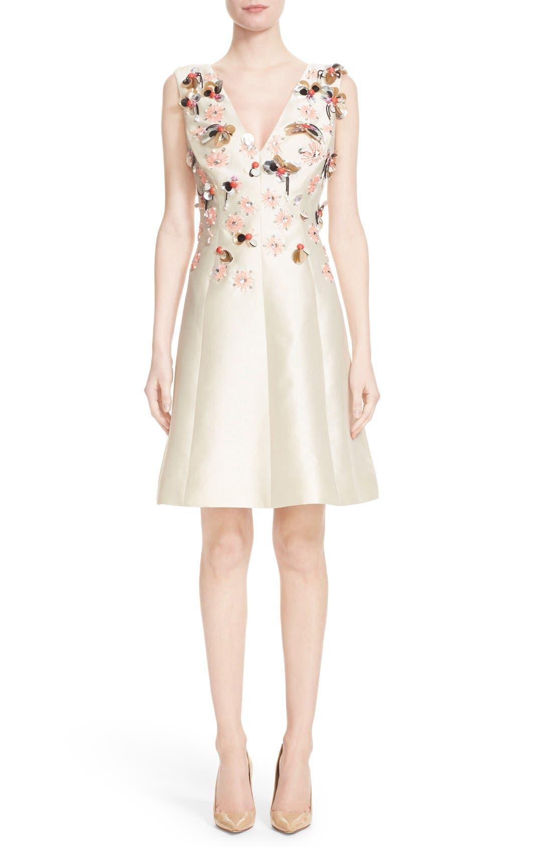 Main Image - Lela Rose Embellished Wool & Silk A-Line Dress