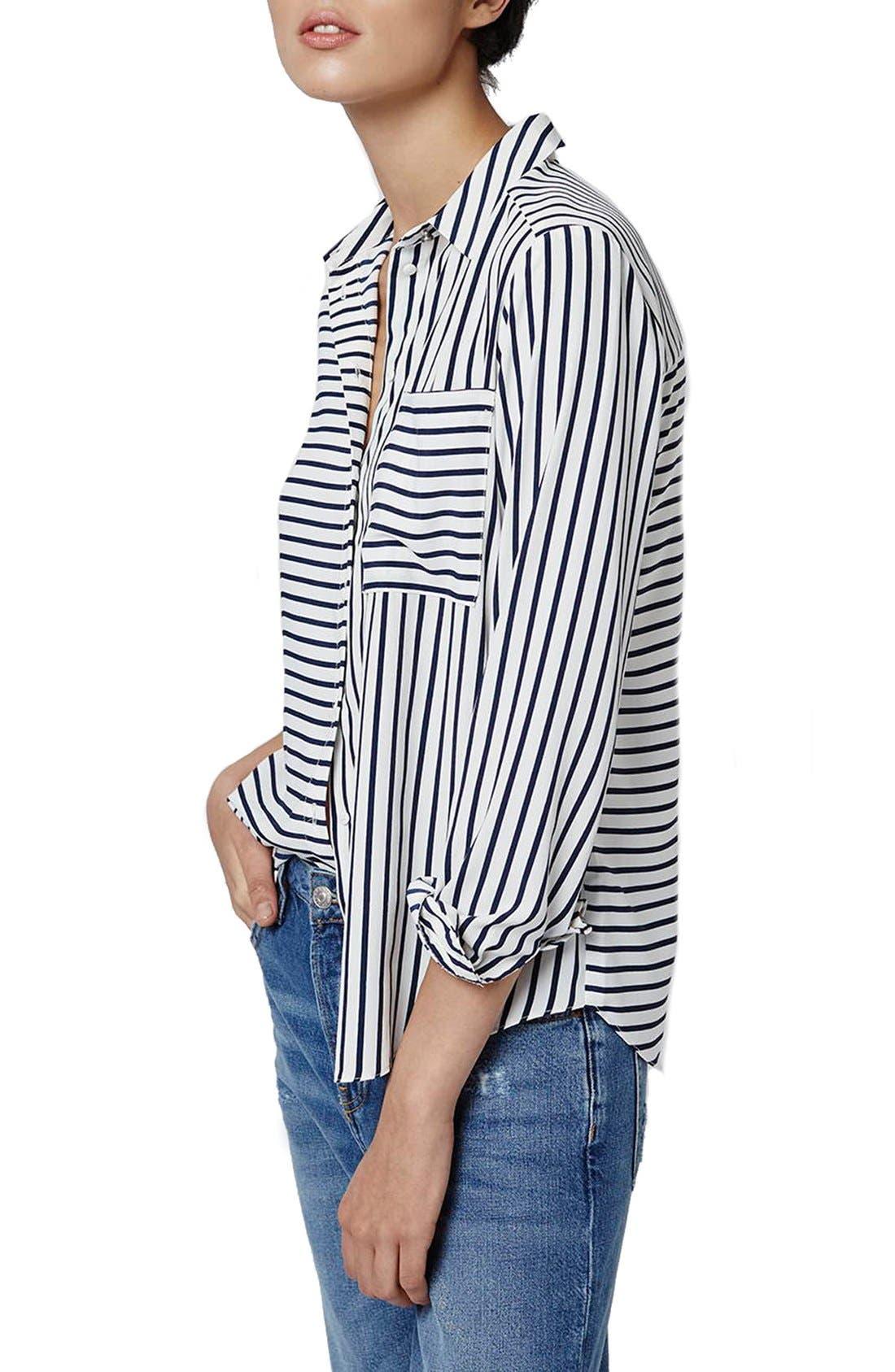 Alternate Image 1 Selected - Topshop 'Olivia' Paneled Stripe Shirt