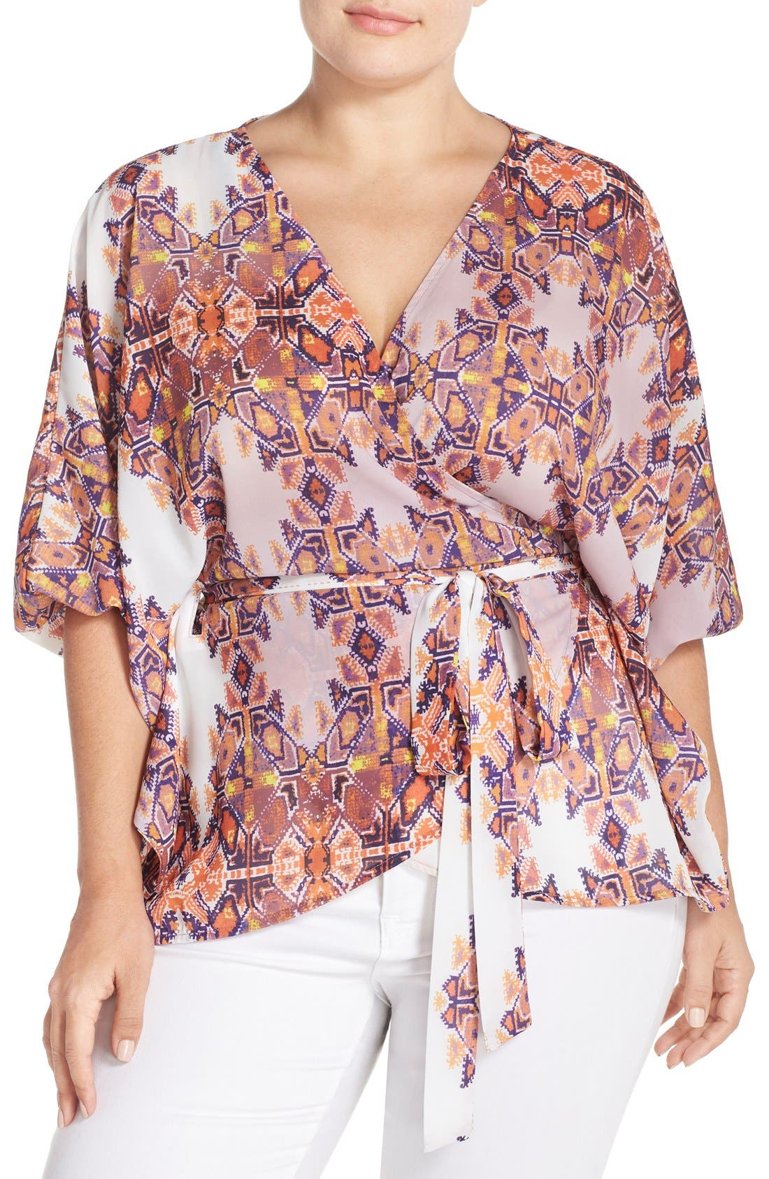 Alternate Image 1 Selected - City Chic Geometric Print Wrap Top (Plus Size)