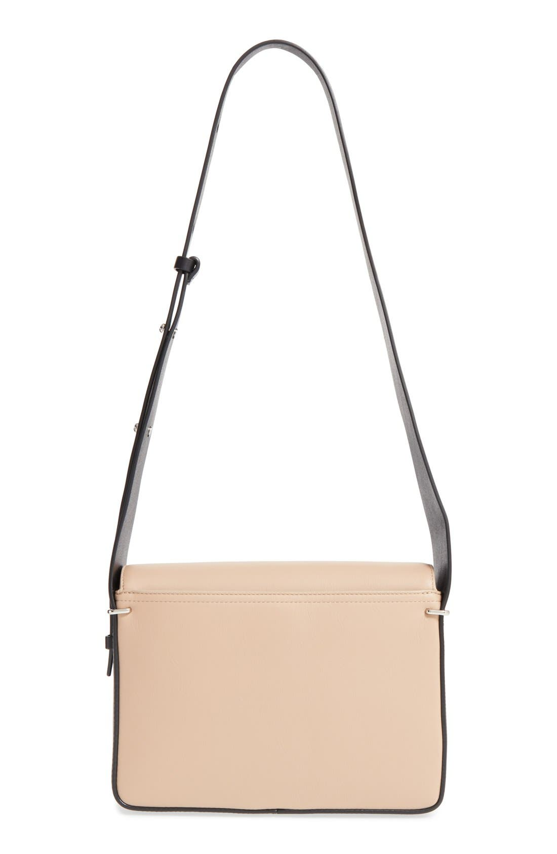 'Alix' Flap Shoulder Bag,                             Alternate thumbnail 3, color,                             Fawn