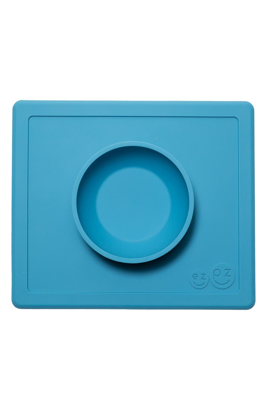 'Happy Bowl' Silicone Feeding Mat,                         Main,                         color, Blue