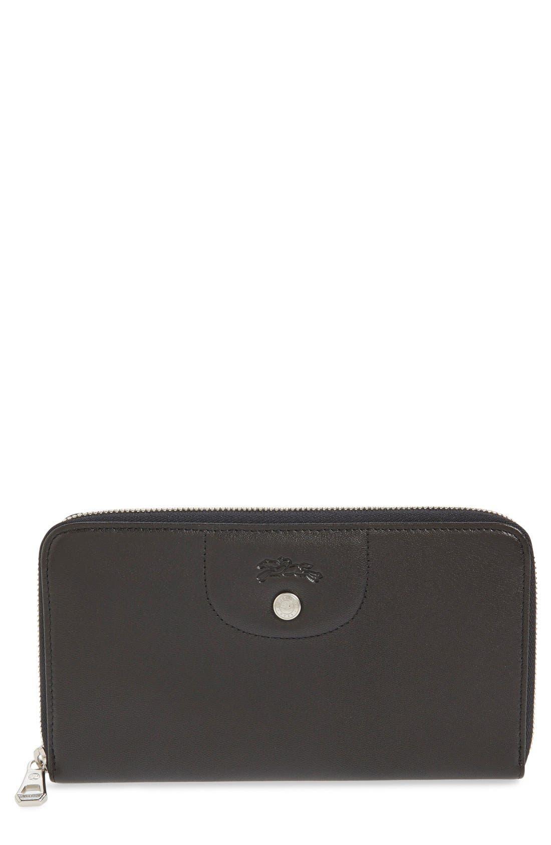 Alternate Image 1 Selected - Longchamp 'Le Pliage' Leather Zip Around Wallet
