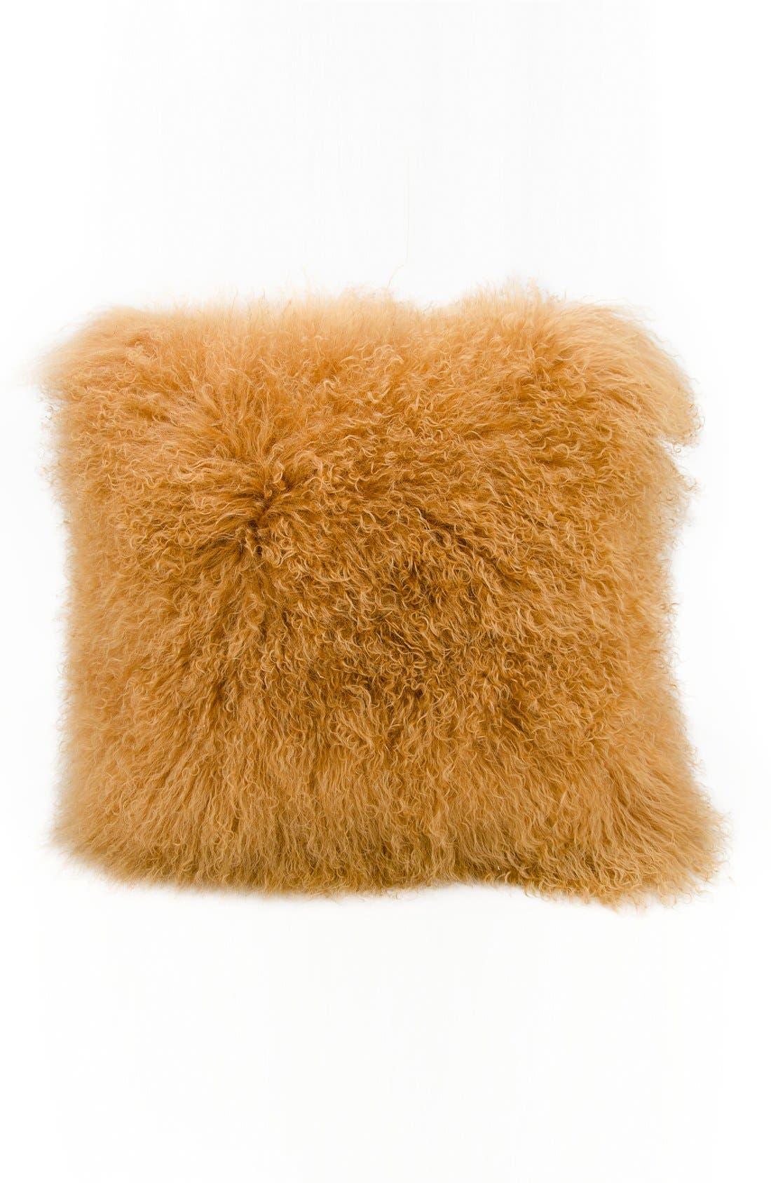 Genuine Tibetan Wool Shearling Pillow,                         Main,                         color, Amber