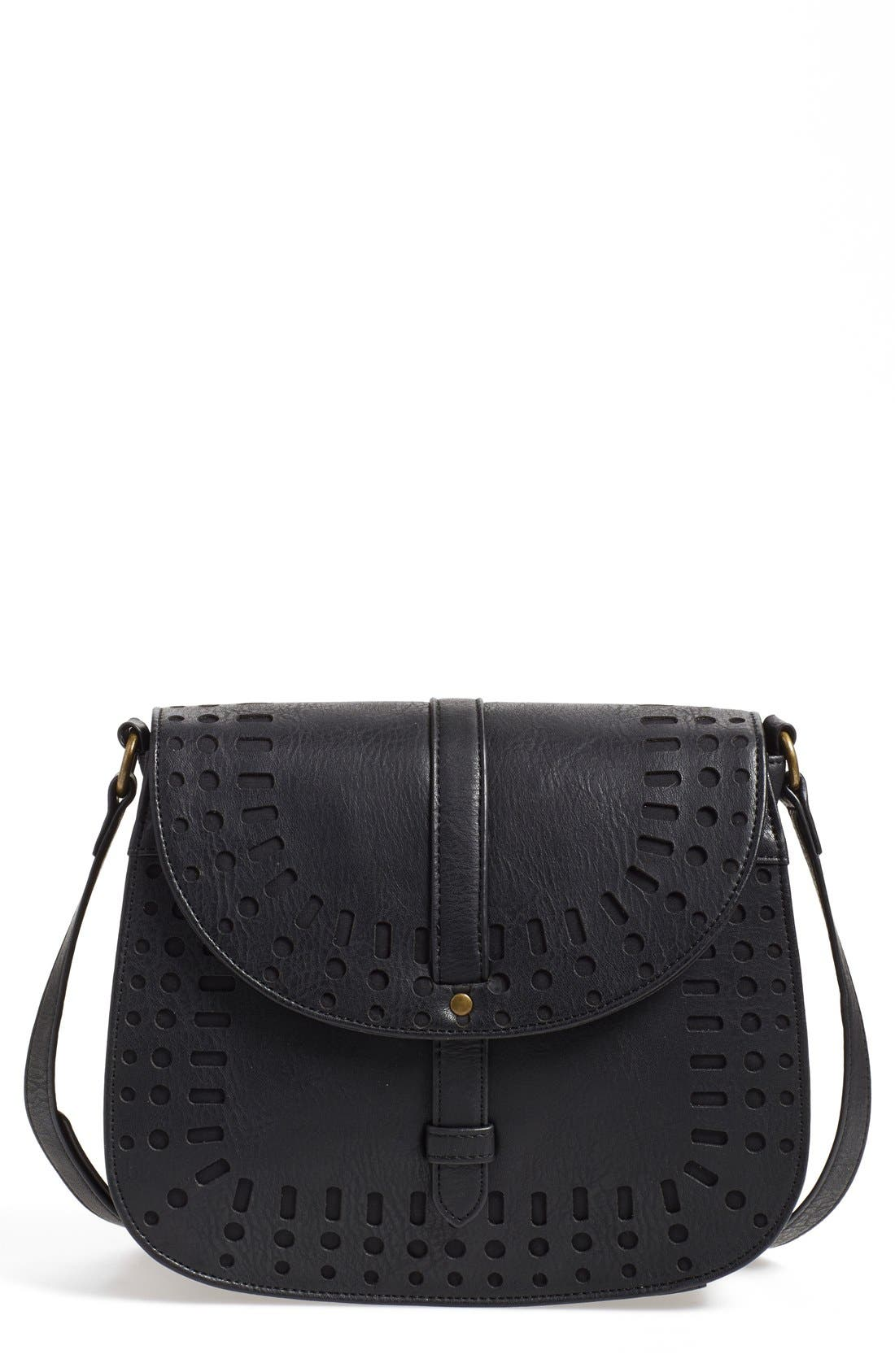 Main Image - Dirty Ballerina Perforated Faux Leather Saddle Crossbody Bag
