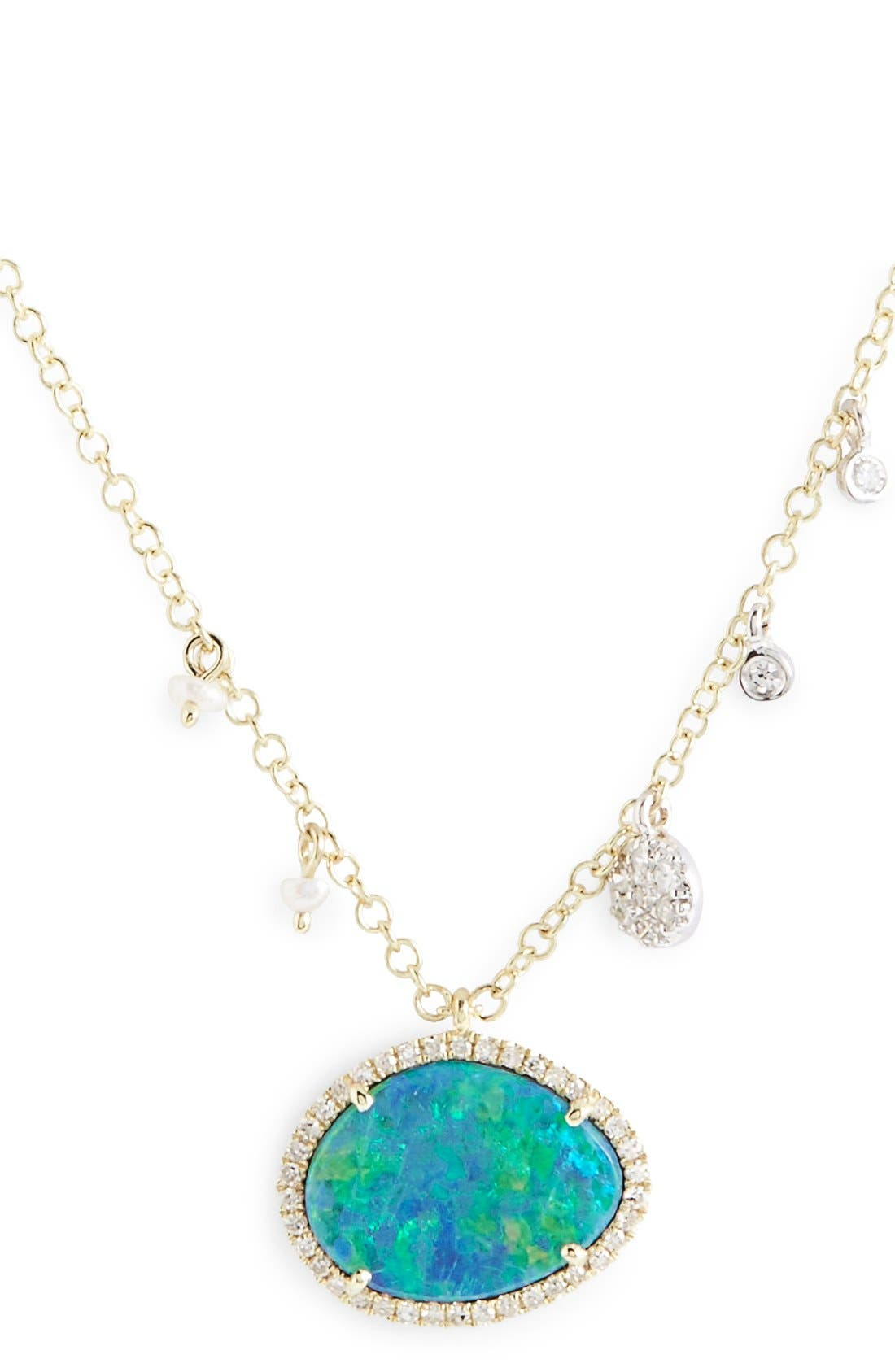 Stone Pendant Necklace,                         Main,                         color, Yellow Gold/ Blue Opal