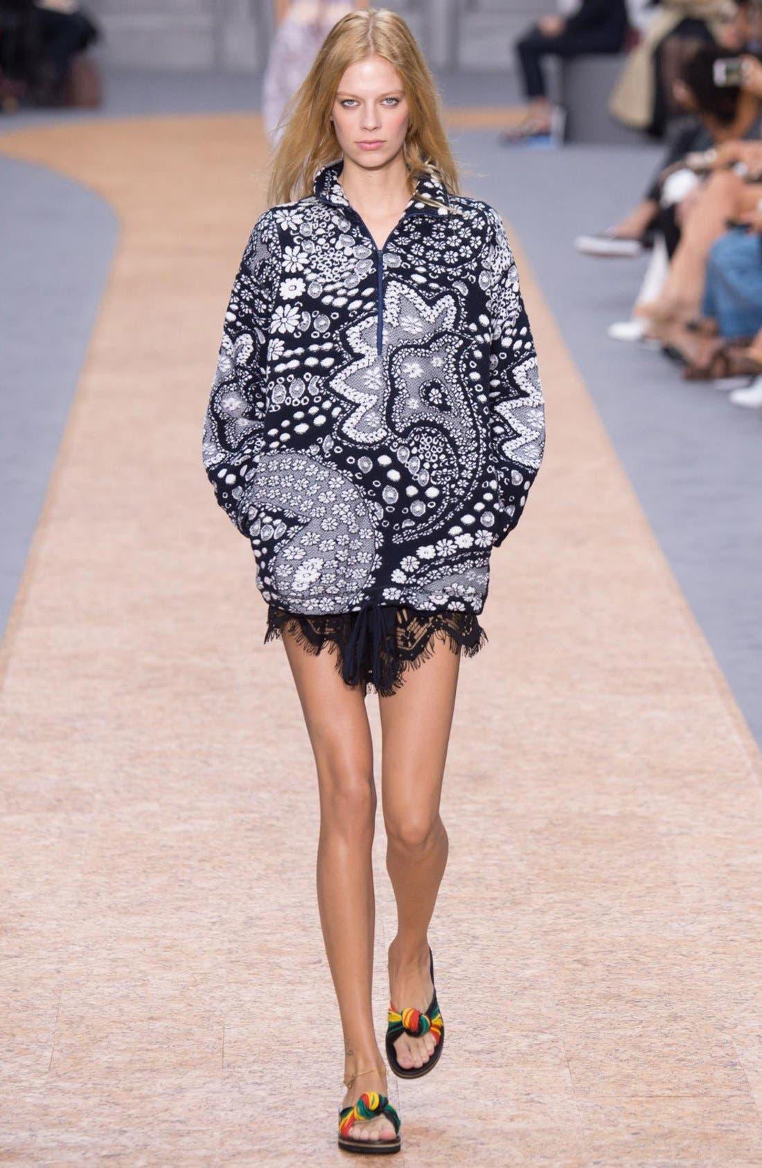 Alternate Image 2  - Chloé Fringed Floral Lace Trim Silk Shorts
