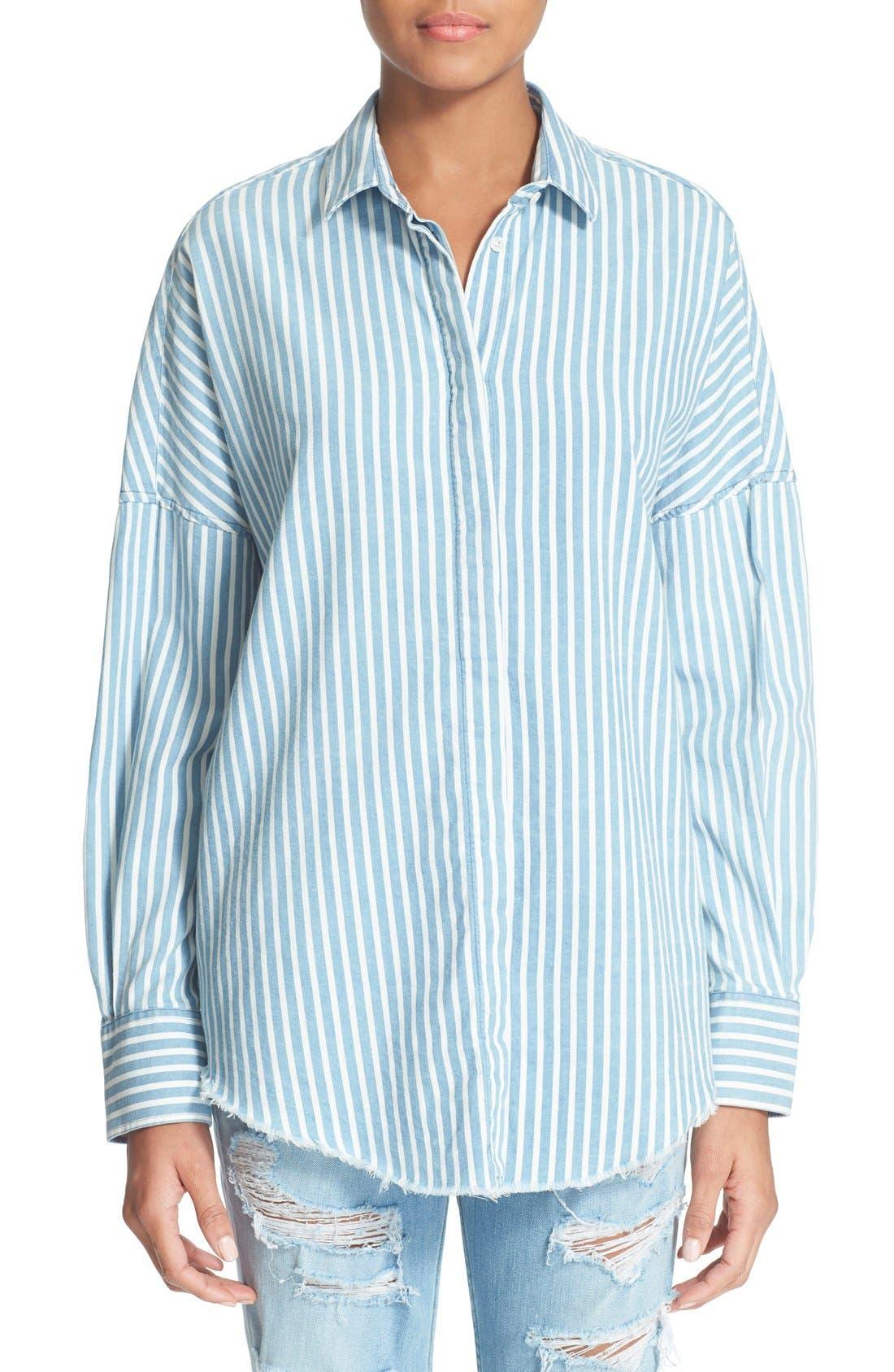 Alternate Image 1 Selected - IRO 'Mia' Stripe Cotton & Modal Shirt