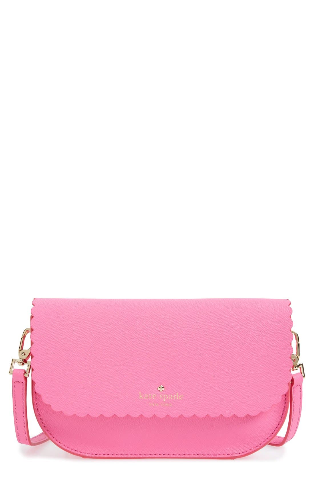 'cape drive - jettie' scalloped leather crossbody bag,                             Main thumbnail 1, color,                             Tulip Pink/ Bright Papaya