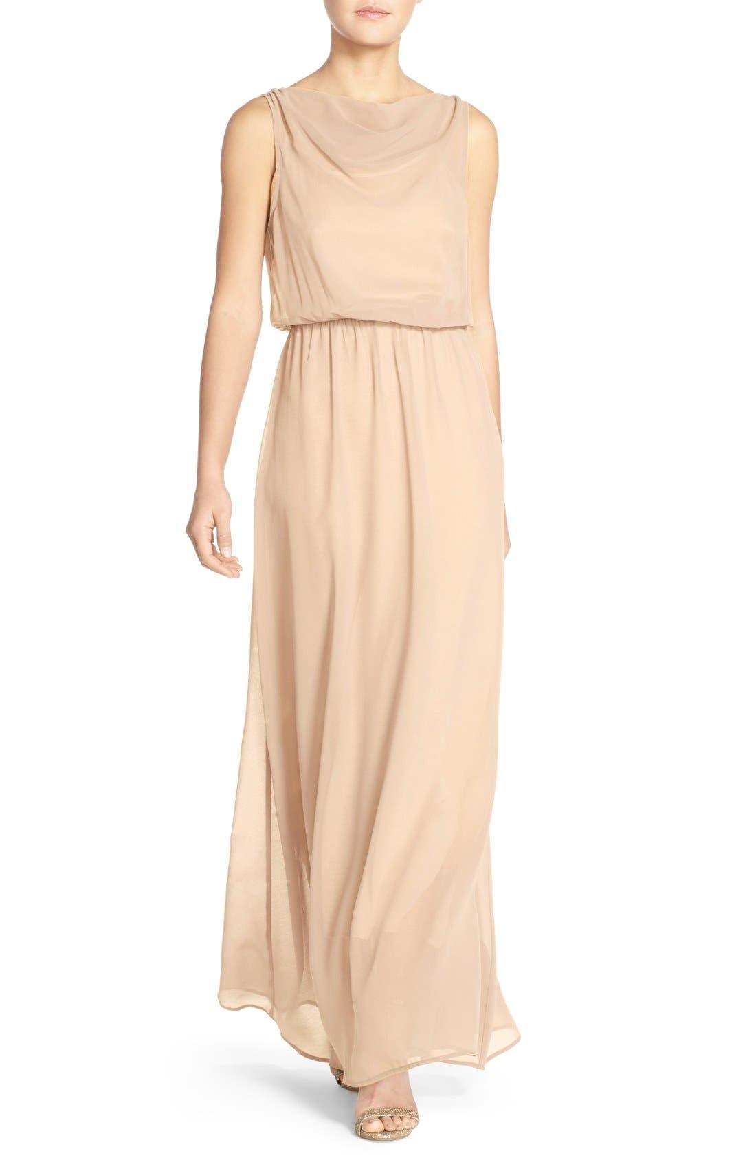 by Lauren Conrad 'Springfield' Cowl Neck Chiffon Gown,                         Main,                         color, Cream