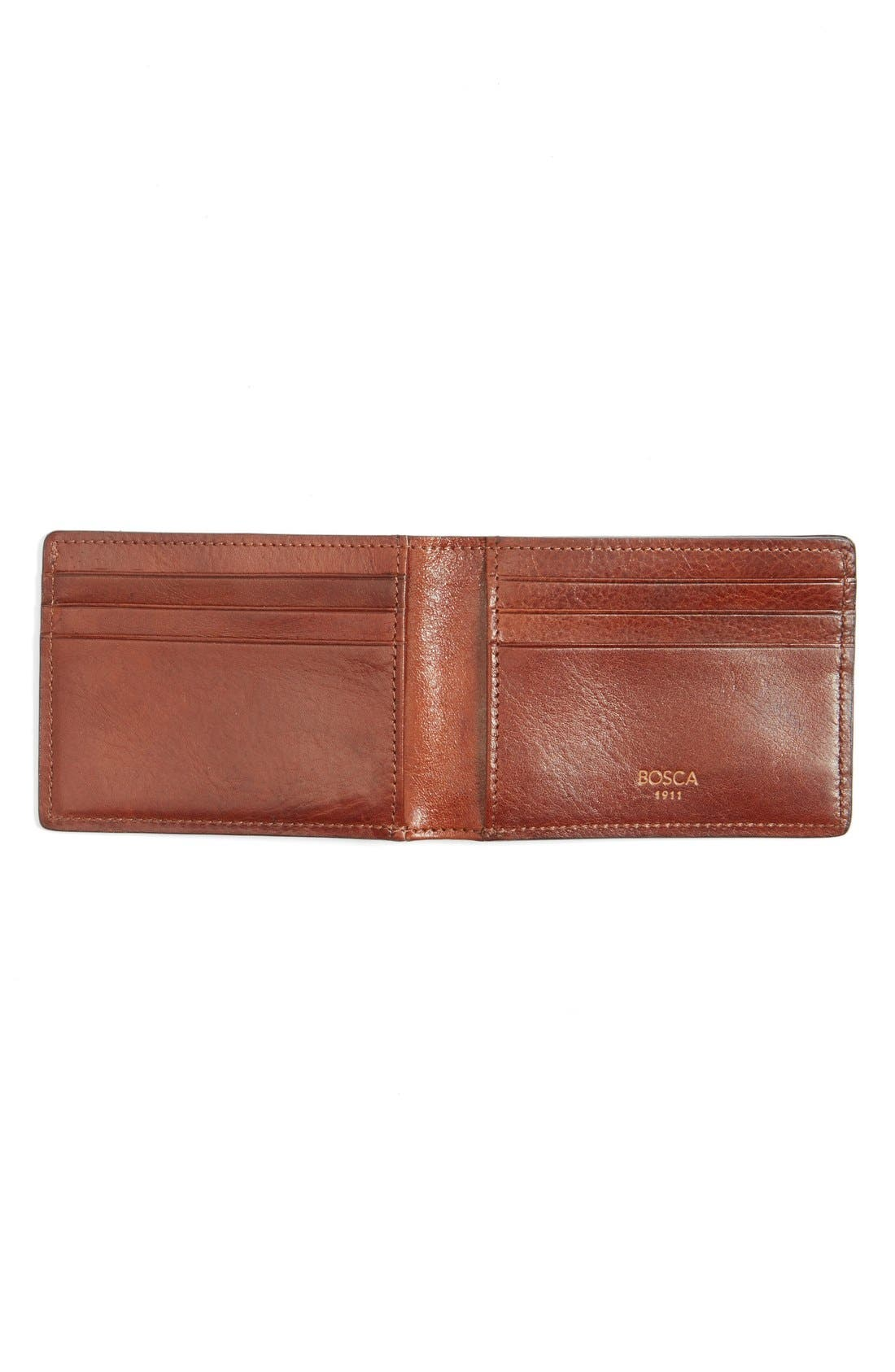 Leather Bifold Wallet,                             Alternate thumbnail 2, color,                             Amber