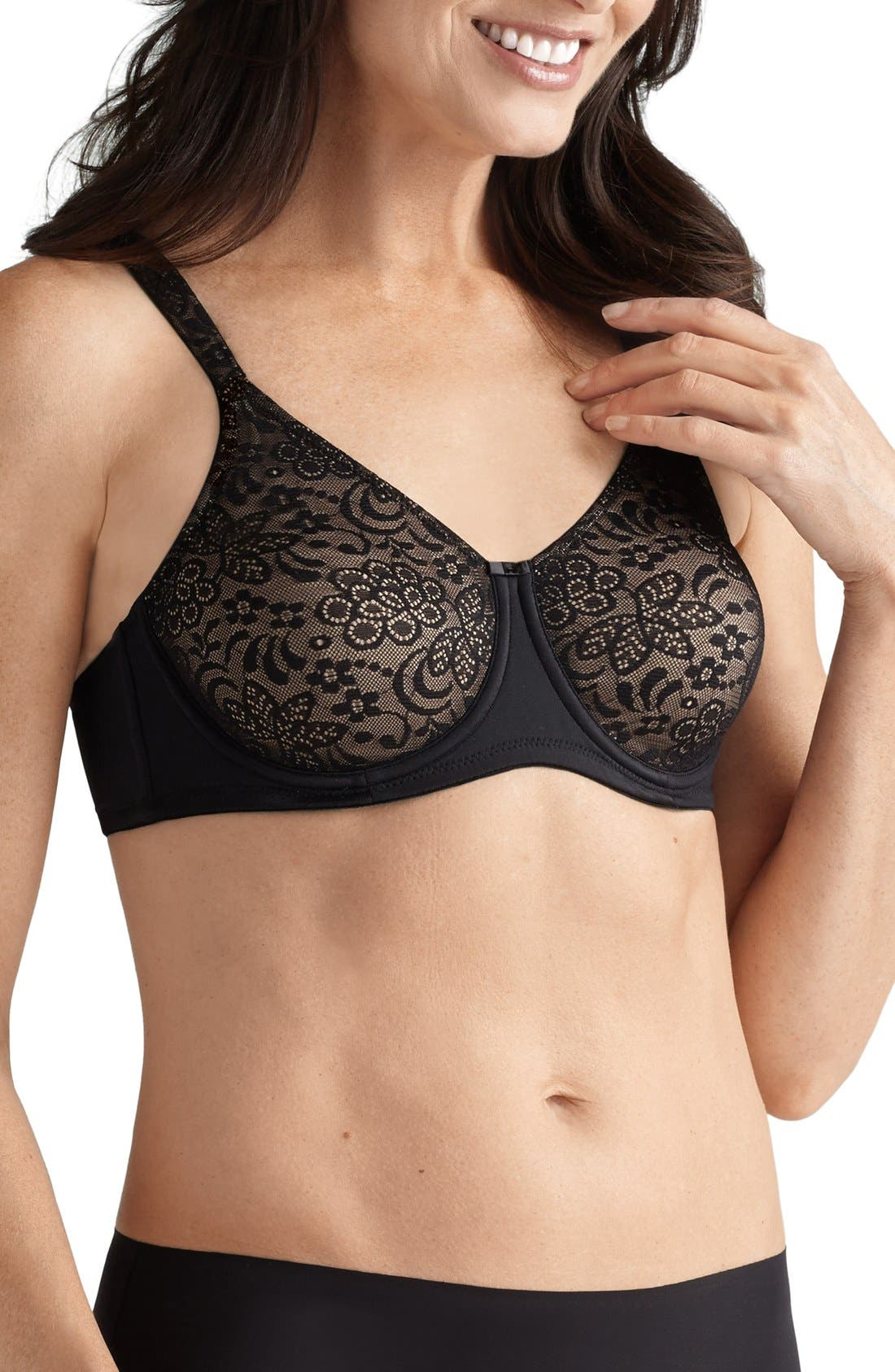 'Annette' Lace Underwire Bra,                             Main thumbnail 1, color,                             Black
