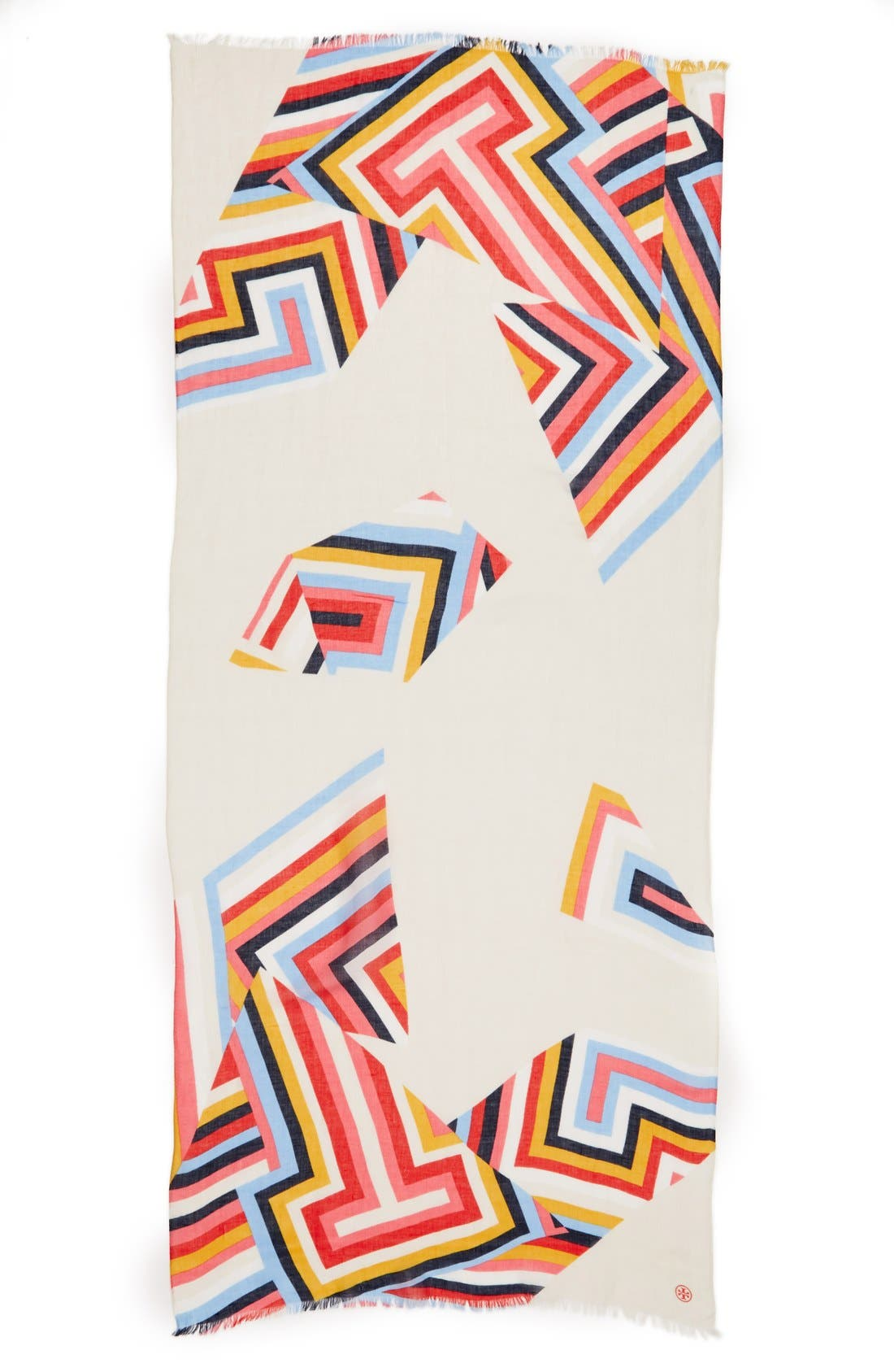 Alternate Image 2  - Tory Burch Stripe T-Print Linen Blend Scarf