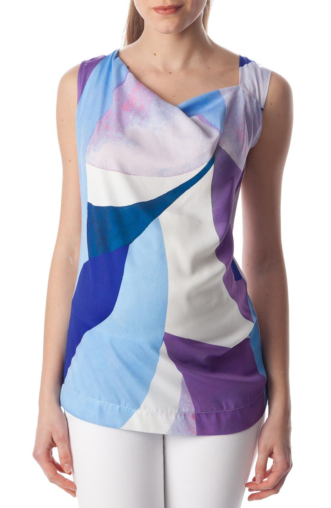 'Fialka' Graphic Maternity Top,                             Main thumbnail 1, color,                             Sky Surf/ White Jersey