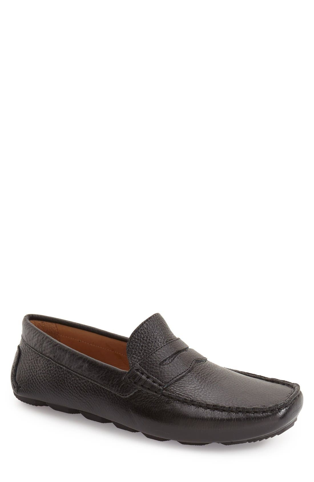 'Bermuda' Penny Loafer,                             Main thumbnail 1, color,                             Black Leather