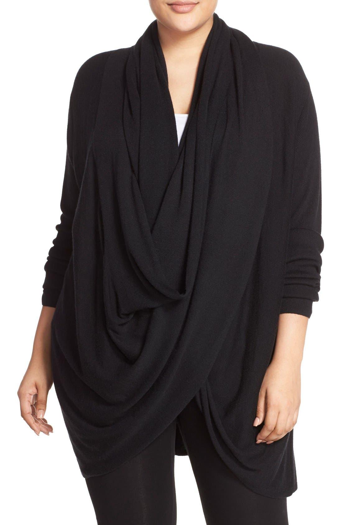 Wrap Front Cardigan,                         Main,                         color, Black