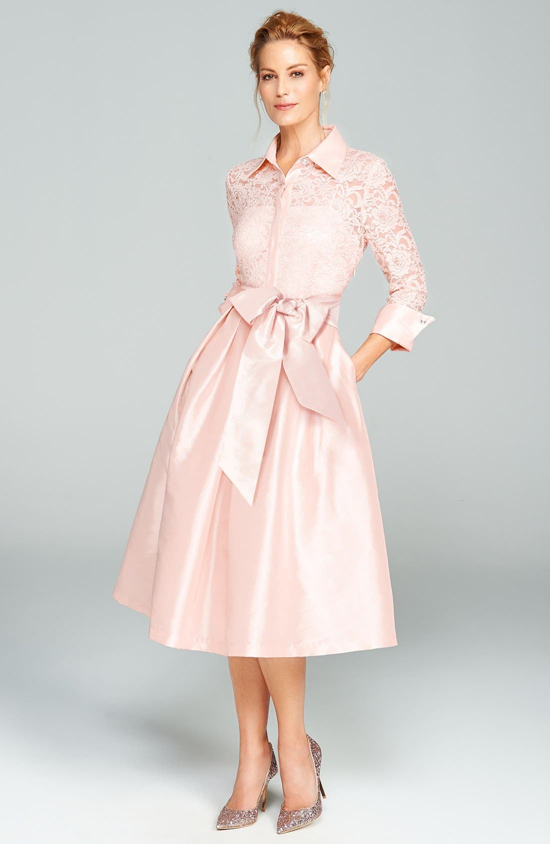 Belted Lace & Taffeta Point Collar Midi Dress,                             Alternate thumbnail 7, color,