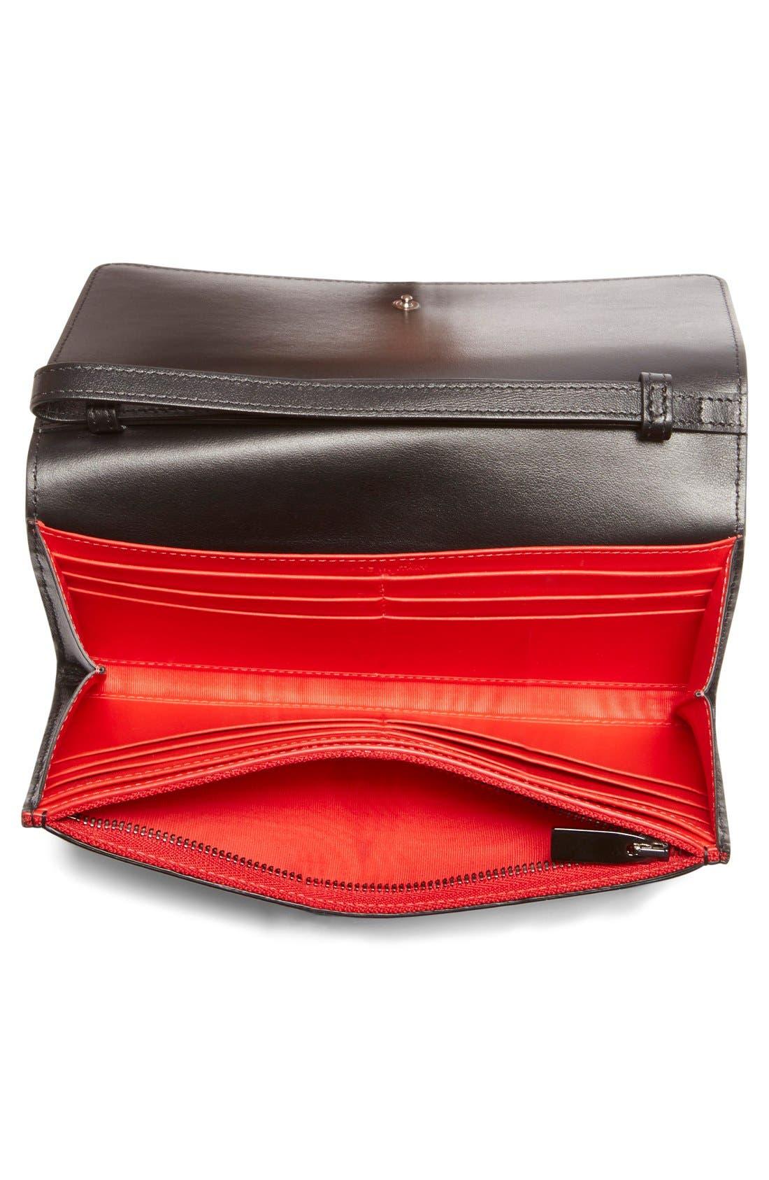 'Macaron' Studded Leather Continental Wallet,                             Alternate thumbnail 2, color,                             Black/ Gunmetal