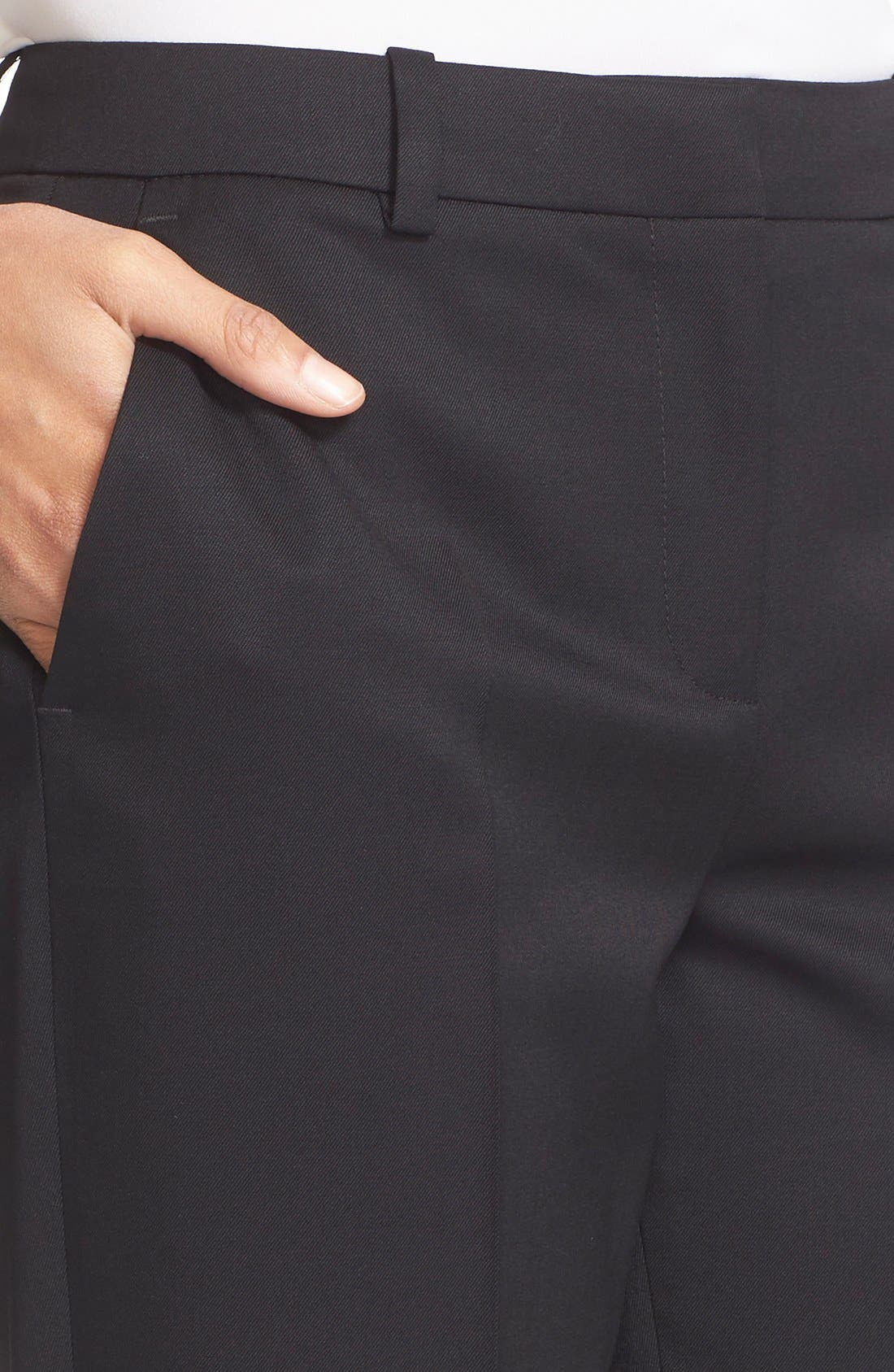 'Timeless' Stretch Wool Trousers,                             Alternate thumbnail 5, color,                             Black