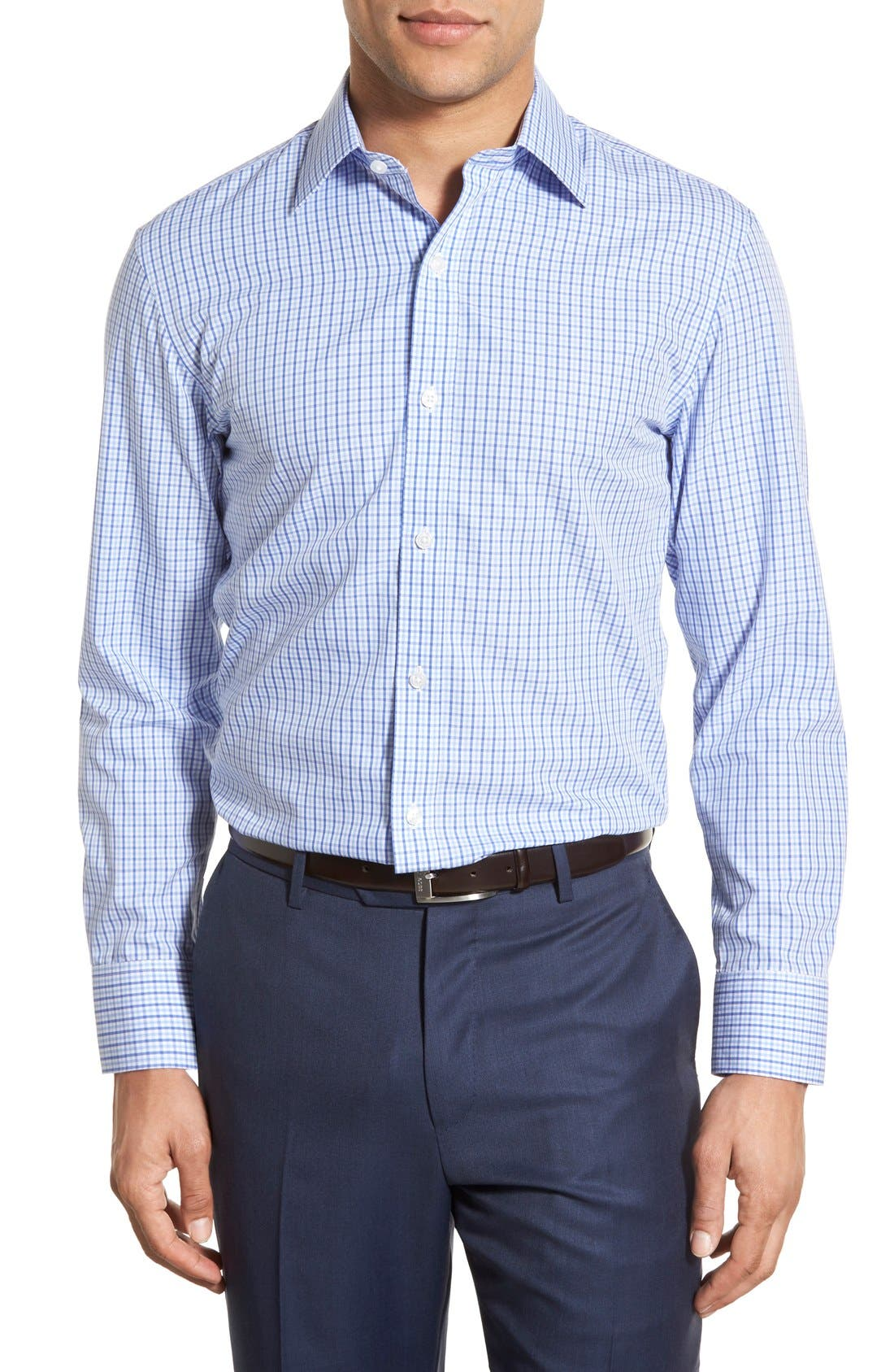 Slim Fit Wrinkle Free Check Dress Shirt,                         Main,                         color, Pale Blue