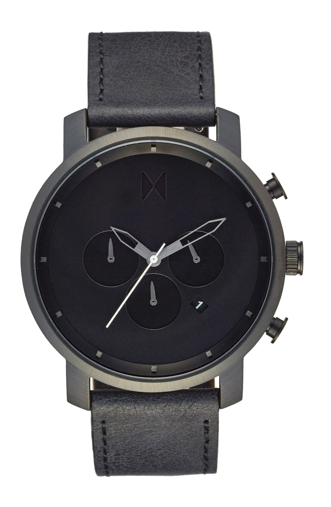 Chronograph Leather Strap Watch, 45mm,                             Main thumbnail 1, color,                             All Black
