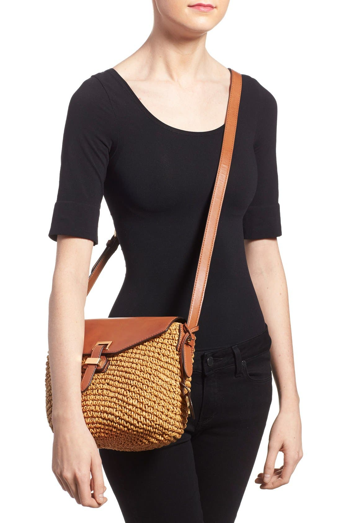 Alternate Image 2  - MICHAEL Michael Kors 'Medium Naomi' Straw & Leather Messenger Bag