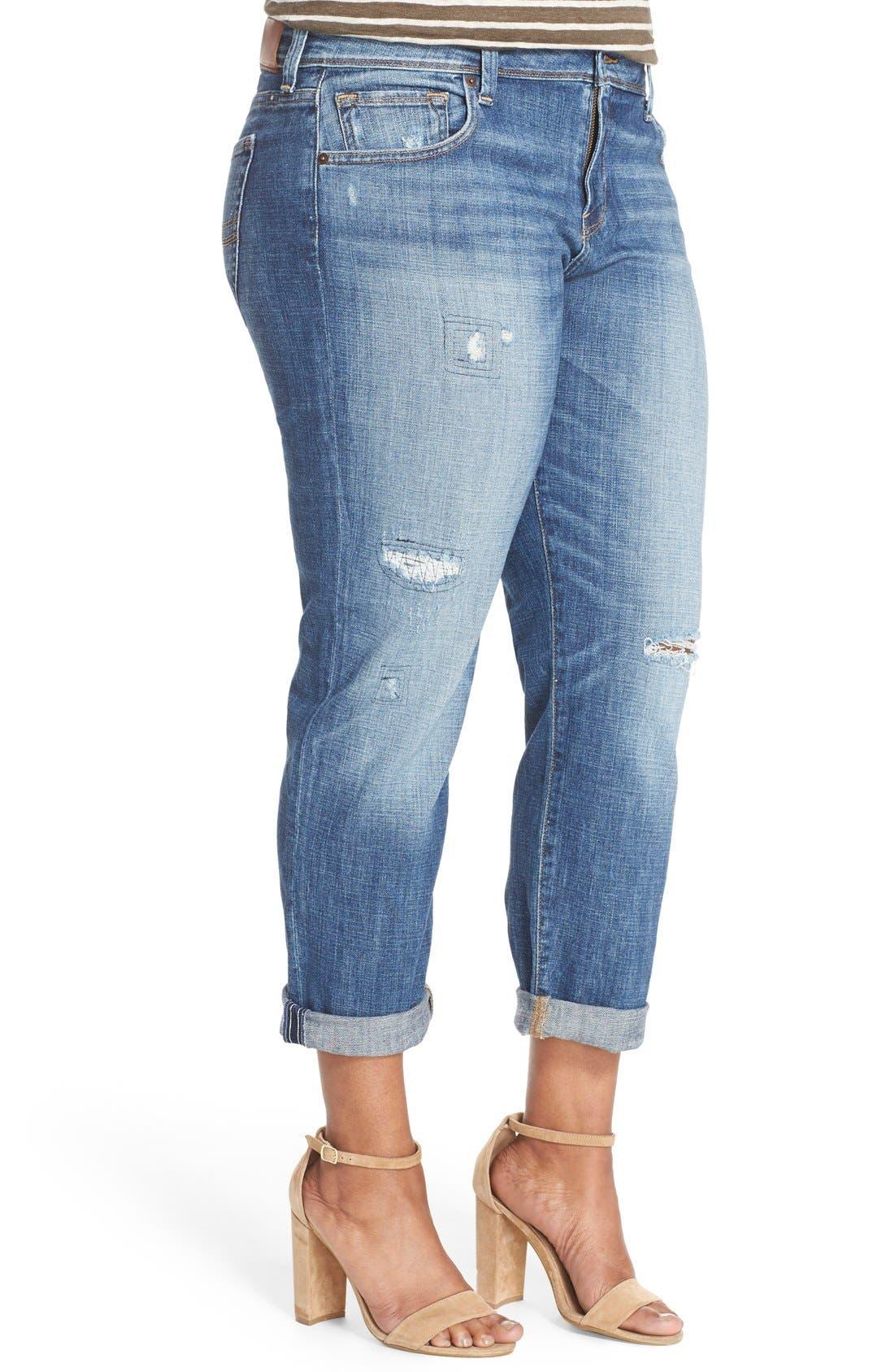 Alternate Image 4  - Lucky Brand Reese Distressed Boyfriend Jeans (Northridge Park) (Plus Size)
