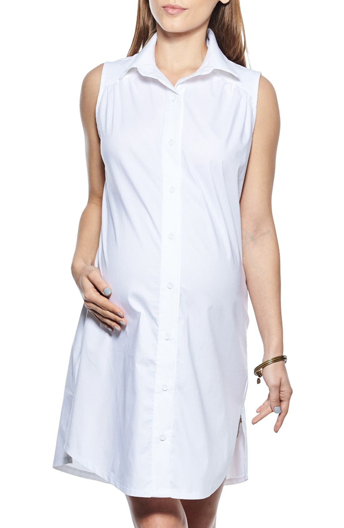 Button Down Maternity Shirtdress,                         Main,                         color, White